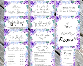 Bridal Shower games, Bridal Bingo, Know the bride, Advice, What's in your phone, purple lavender, blue hydrangea, lilac, INSTANT DOWNLOAD