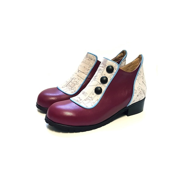 Booties Leather Women Shoes Shoes Short Shoes vintage burgondy Women Boots Shoes Genuine Buttons Leather Flat with Winter Light Leather XpqZ0qxB