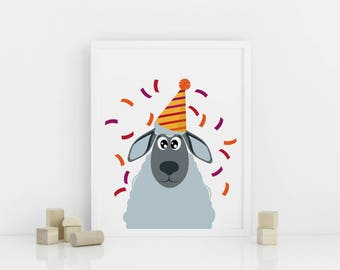 Sheep nursery print, Printable Nursery Animal Wall Art, Nursery Decor, Sheep in a party hat,  Digital download