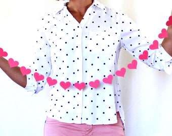 Hot Pink Heart Bachelorette Party Decorations- Paper Heart Garland- Bachelorette Party Decoartions- Pink Wedding Decor- Baby Shower Banner