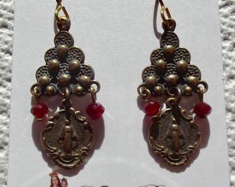 Bronze Miraculous Medal Earrings Catholic Heirloom Wire Wrapped Faux Vintage Antique Christmas Gift