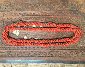 Vintage beaded twisted rope necklace.