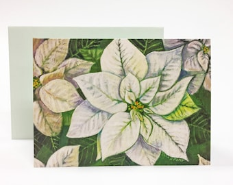 White Poinsettia - Botanical Illustration Greeting Card