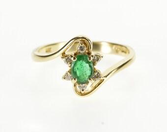 14K Oval Emerald Starburst Diamond Halo Freeform Ring Size 6 Yellow Gold