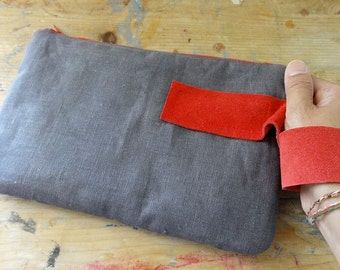 Utility Case in Charcoal Grey Linen and Red Suede