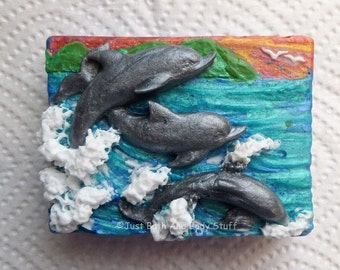 Dolphin Trio Handmade Soap Bar - Custom Bath Art by JBABS