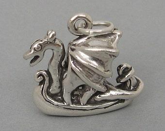 VIKING DRAGON SHIP Norse Scandinavian 3D Sterling Silver .925 Charm Pendant 4146