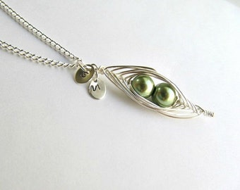Sweet Two Pea Pod Necklace Silver Wire Wrapped, Wedding gift, Best Friends initials Customizable