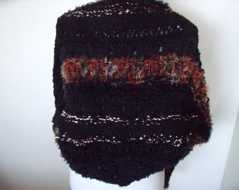 Solid black triangle stole with fluff and glitter jobs