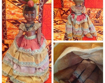 Antique Carmen Miranda Queen of Calypso doll - Caribbean doll - 1940's hard to find
