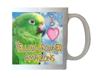 I Love Yellow-crowned Amazons Amazon Parrot Blue Sky Clouds White 11oz Ceramic Coffee Mug