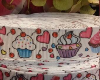 3 yards, 7/8' grosgrain ribbon cupcake design