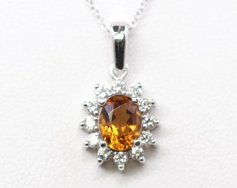 Citrine Diamond Necklace.Oval Citrine Pendant.14k White Gold Necklace.AAA Natural Citrine & 0.36ct High Quality Diamond.November Birthstone.