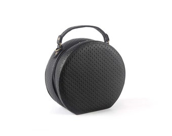 Patterned Black Small Macaroon Bag - Women's Bag, Unique Bag, Evening Handbag, Crossbody Bag, Evening Purse, Vintage Style Bag, Round Bag.