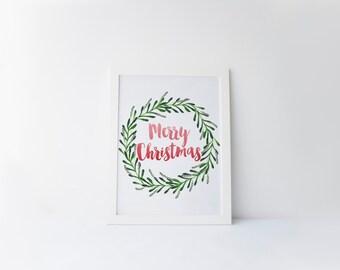 merry christmas printable · christmas wreath · watercolor christmas wreath · christmas decor · holiday print · red & green · seasonal print