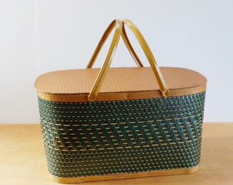 Vintage Green Woven Picnic Basket • 1970s Woven Wood and Cardboard Picnic Basket