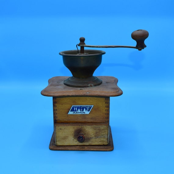 Armin German Coffee Mill Vintage Box Style Coffee Grinder Hand Crank Wood Coffee Mill Farmhouse Rustic Decor Country Kitchen Decor