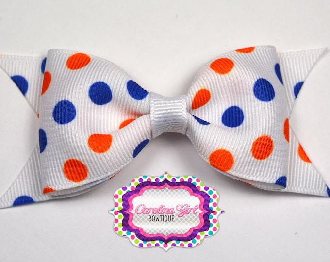 "Florida Inspired Dots Tuxedo Bow ~ 3.5"" Hairbow ~ Small Hair Bow ~ Girls Barrette ~ Toddler Bow ~ Baby Hair Bow ~ Hair Clip ~ Girls Hair Bow"