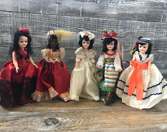5 1960's Dolls of the World with Stands Collectible Dolls Arco? Promotional Costumes Sleepy Eyes