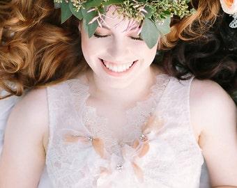 Lace wedding dress, bridal dress, short wedding dress, tulle wedding dress, rhinestone crystals, feathers, handmade flowers {Rose Gold}