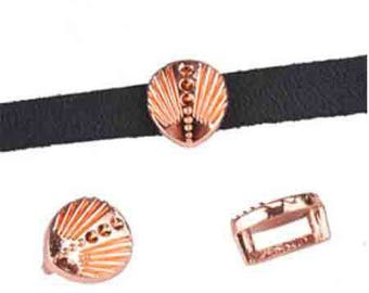 Interleave shell leather 5 mm metal rose gold, set of 10 Pcs