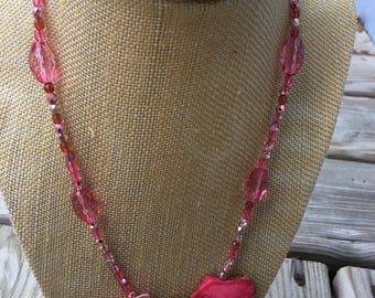 Pink bead and Jasper statement necklace