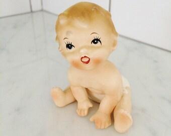 Vintage Baby Figurine , Bisque Baby Figurine , Nursery Decor , Baby Gift