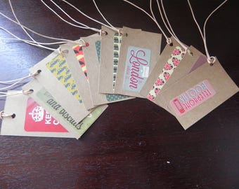 ENGLISH THEME: 10 labels kraft 8.6 x 5 cm