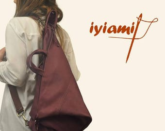 Handmade convertible backpack in plum Italian leather ,named Moira