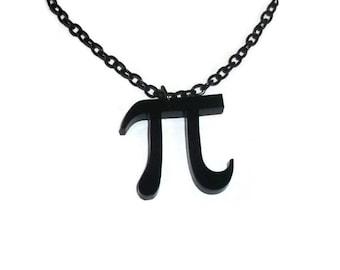 Black Pi Necklace, Laser Cut Pendant, Math, Mathematics Pythagoras, Geeky Jewelry