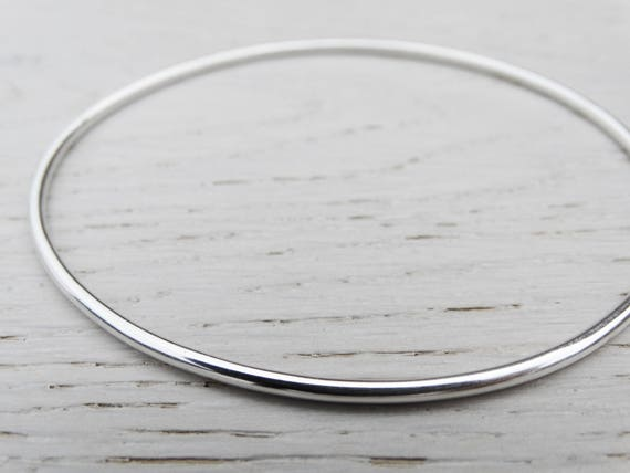 Simple Silver Bangle, Sterling Silver, Stacking Bracelet