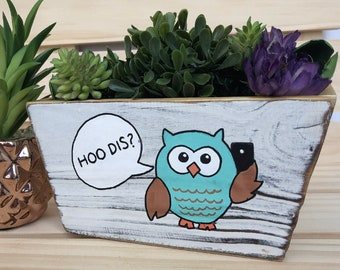 Owl Planter, Hoo Dis, Who Dis Funny Planter, Cute Owl Bin, Decorative Planter, Cute Planter Pot, Funny Gift, Succulent Planter, Painted Bin