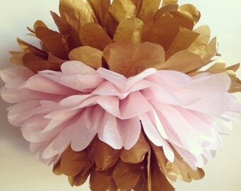 Mothers Day Decor, The Original Gold Dipped Tissue Paper Pom Pom, gold poms, gold and light pink pom poms, wedding decorations