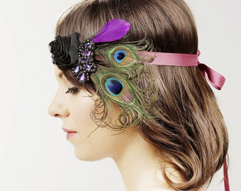 Peacock Feather Headband Wedding Bridal Hairband - 1920 20s Flapper Girl Inspired Hair Accessory