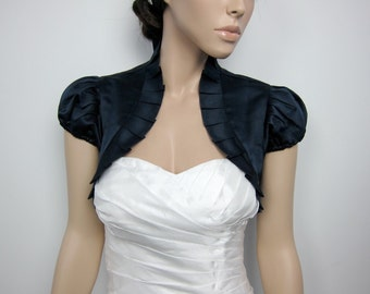 Navy Blue short sleeve satin bolero wedding bolero jacket shrug