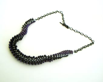 Twisted Beaded Rope Necklace - short asexual pride necklace - black and purple beadwork casual curl asexual seed bead unisex or mens jewelry