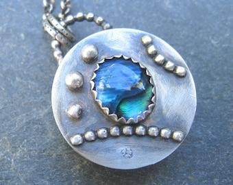 Abalone Pendant, Paua Shell Pendant, Locket style necklace, Reversible Pendant Necklace, Sterling Silver Box Pendant, Organic Shell Jewelry