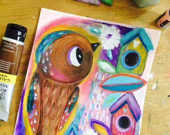 Bird - colorful painting,animal art,mixed media art, nursery decor, boy, girl, whimsical art, to frame, bird painting, nature art
