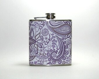 Purple Lavender Paisley 6 oz Size Stainless Steel Liquor Hip Flask Flasks Weddings Bridesmaids Gift Idea