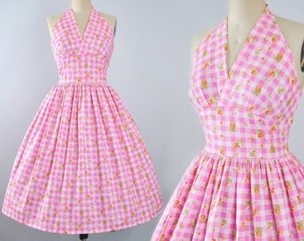 Vintage 50s Dress / 1950s Cotton Sundress Halter Top GINGHAM CHECKERED FLORAL Print Full Swing Skirt Pinup Garden Picnic Pinup Party Medium