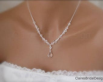 Bridal Necklace Clear Crystal Pendant Necklace Wedding Jewelry Bridal Jewelry