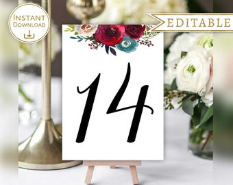 Table Number Printable Table Number Cards Table Number Editable table number Template Wedding Table Number Burgundy Red Navy Indigo Floral