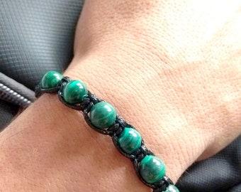 Malachite beads macrame bracelet for men
