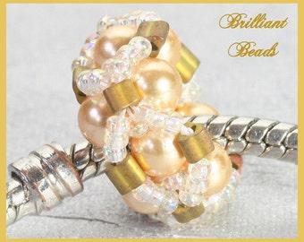Golden Yellow & Crystal Beaded Bead for European Charm Bracelet - Handmade SRA