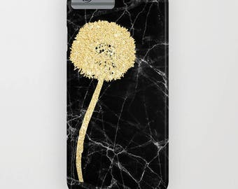 Black Marble with Golden Dandelion on Phone Case -   iPhone 8, iPhone X, Marble, Black Marble, gold dandelion , Samsung Galaxy
