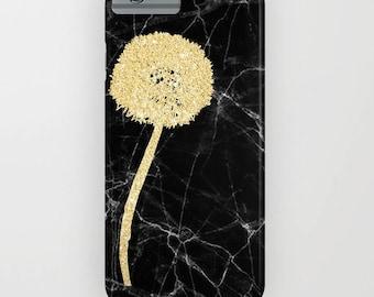 Marbre noir avec pissenlit doré sur la housse de portable - iPhone 8, iPhone X, marbre, marbre noir, pissenlit doré, Samsung Galaxy