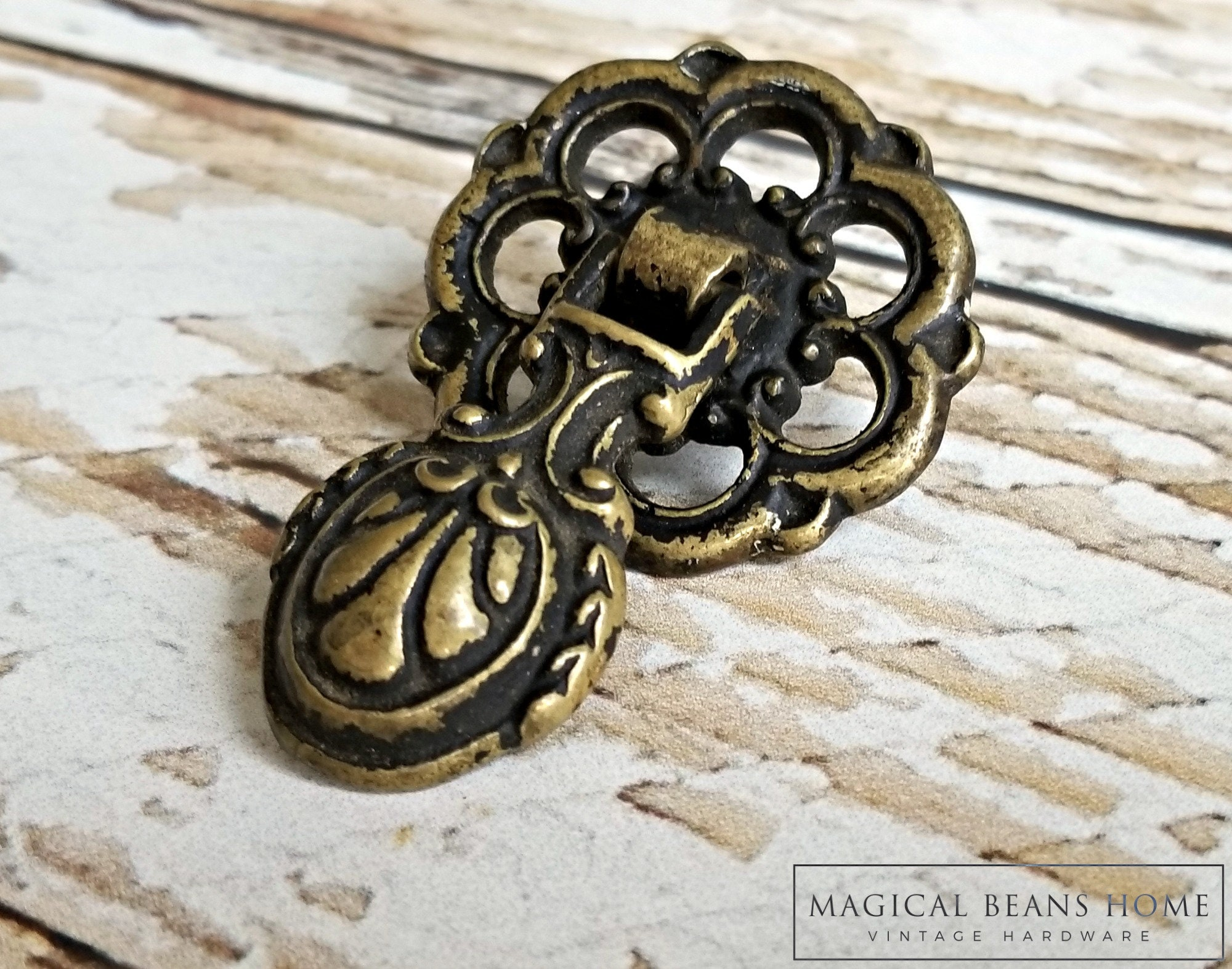 Antiqued Brass Teardrop Drawer Pull Neoclassical Furniture Pull ...