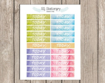 22 TODAY water color Planner Stickers, planner, Erin Condren Planner Stickers, Functional Stickers, ECLP, Filofax, functional, TODAY,