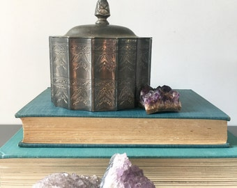 vintage jewelry box silver plated lined biscuit box Godinger rustic