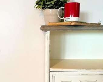 White bedside table, wooden bedside table, shabby chic bedside table, vintage bedside table, cabinet drawers